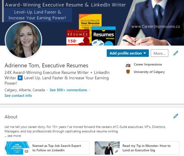 LinkedIn Profile Example - Career Impressions