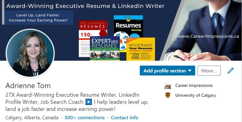 View a fully populated LinkedIn profile